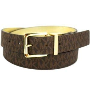 Michael Kors Logo Premium Leather Reversible Belt Boutique